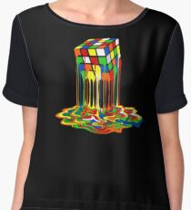 Rainbow Abstraction melted rubiks cube Chiffon Top