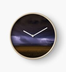 Lightning Storm Over Mumbles Headland Clock