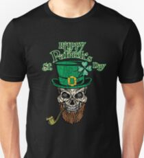 Awesome Happy St Patrick's Day Shirt With A Vintage Skull - Saint Patricks Day Gift Unisex T-Shirt