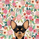 Chihuahua dog floral pet pure breed gifts for chihuahua black and tan by PetFriendly