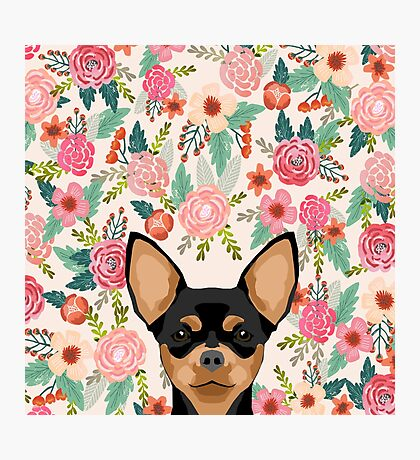 Chihuahua dog floral pet pure breed gifts for chihuahua black and tan Photographic Print