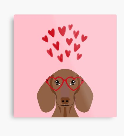 Dachshund valentines day love heart gifts dog breed doxie must haves Metal Print