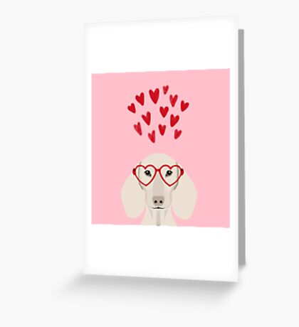 Dachshund valentines day love heart gifts dog breed doxie must haves Greeting Card