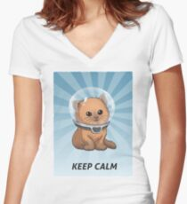 Keep Calm Kitty Fitted V-Neck T-Shirt