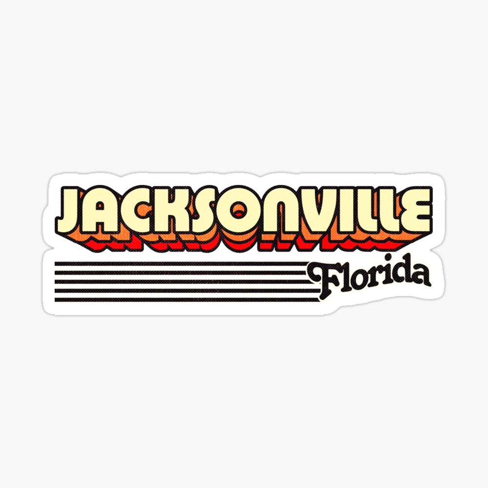 Jacksonville, Florida | Retro Stripes Sticker