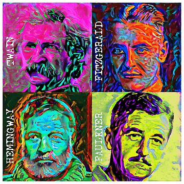 Great Male American Novelists Pop Art by Chunga