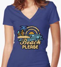 Strand bitte Tailliertes T-Shirt mit V-Ausschnitt