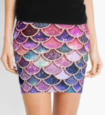 Pink Sparkle Faux Glitter Mermaid Scales Mini Skirt