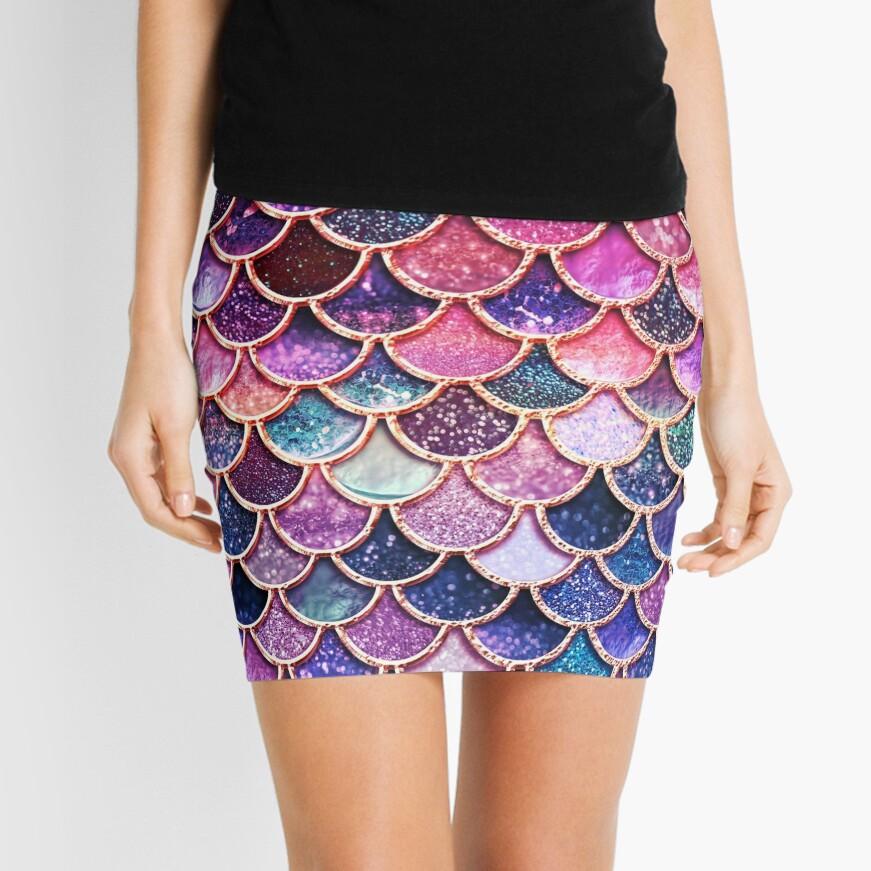 Pink Sparkle Faux Glitter Mermaid Scales Mini Skirt