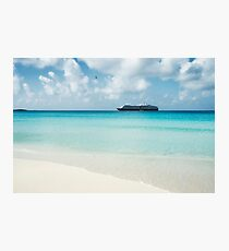 Beautiful sand beach with crystal clear water and cruise ship anchored, Bahamas Photographic Print