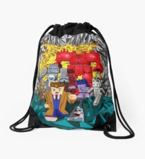 8bit 10th doctor pursued by all enemies Drawstring Bag
