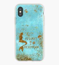 Vinilo o funda para iPhone Siempre sea una sirena: sirena dorada con brillo y tipografía en espuma marina