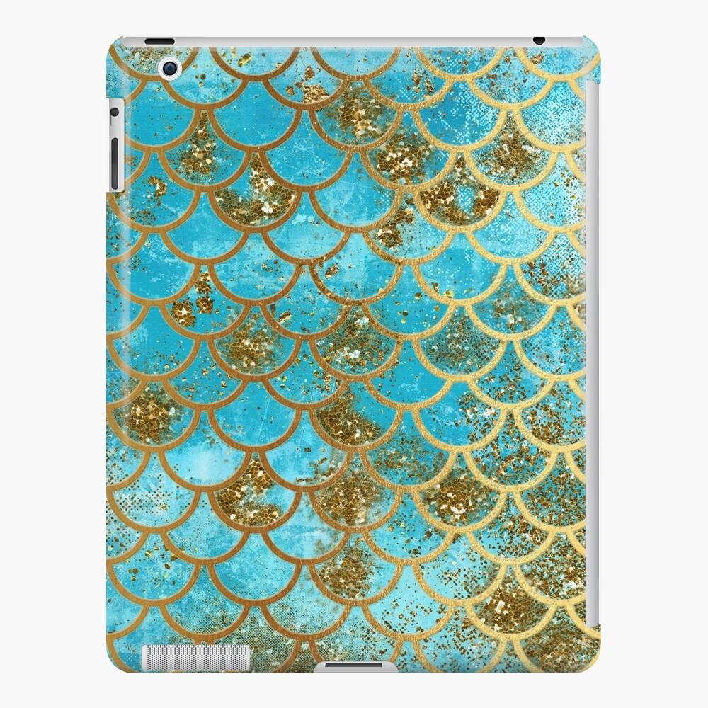 Teal, Gold Glitter und Blue Sparkle Faux Glitter Meerjungfrau Skalen iPad-Hülle & Skin