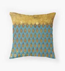 Cojín Shiny Blue Teal Gold Glitter Mermaid Escamas de pescado