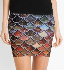 Warm and Cosy Brown Ombre Sparkle Faux Glitter Mermaid Scales Mini Skirt