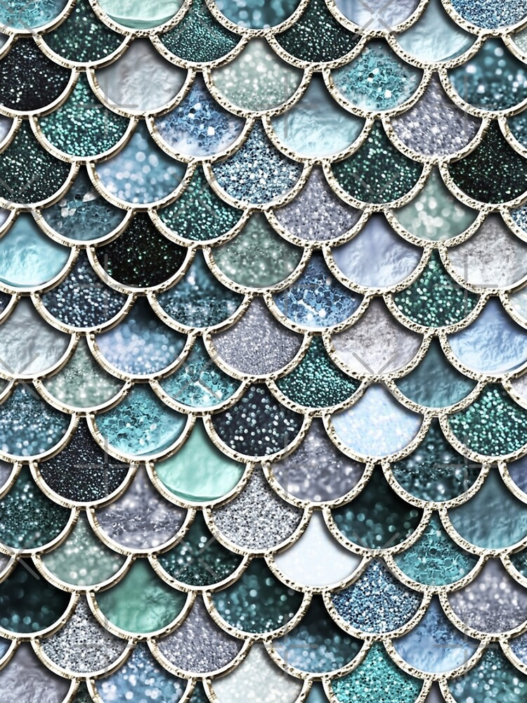 Teal, Silver and Green Sparkle Faux Glitter Mermaid Scales by UtArt