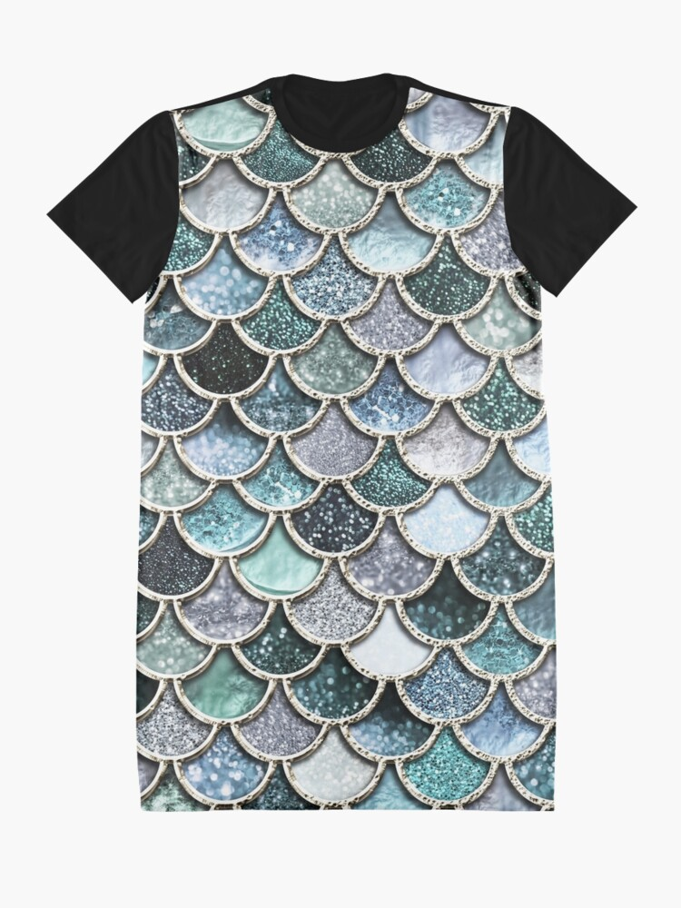 Alternate view of Teal, Silver and Green Sparkle Faux Glitter Mermaid Scales Graphic T-Shirt Dress