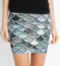 Teal, Silver and Green Sparkle Faux Glitter Mermaid Scales Mini Skirt