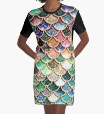 Copper Green Gold and Pink Sparkle Faux Glitter Mermaid Scales Graphic T-Shirt Dress