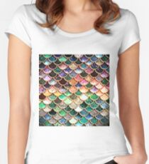 Copper Green Gold and Pink Sparkle Faux Glitter Mermaid Scales Women's Fitted Scoop T-Shirt
