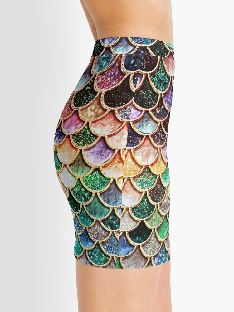 Alternate view of Copper Green Gold and Pink Sparkle Faux Glitter Mermaid Scales Mini Skirt