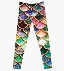 Copper Green Gold and Pink Sparkle Faux Glitter Mermaid Scales Leggings