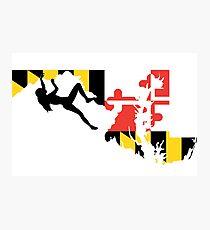Maryland Flag Rock Climber - Climb like a girl Photographic Print