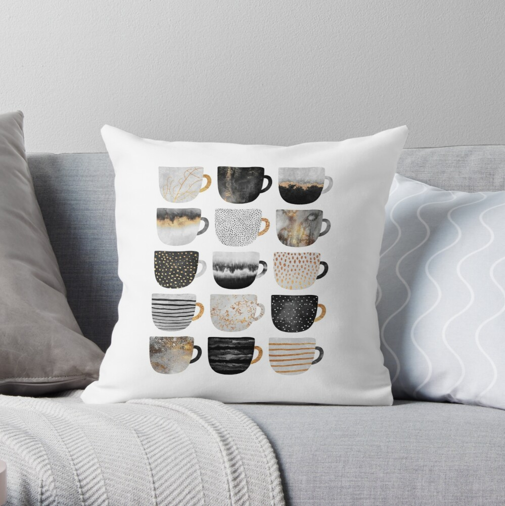 Pretty Coffee Cups 4 Throw Pillow