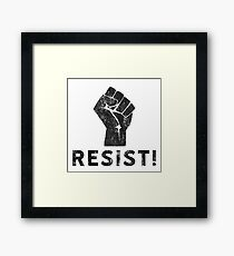 Resist Fist with Exclamation Point Framed Print