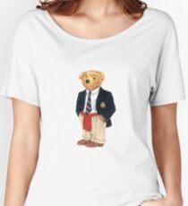 Camiseta ancha para mujer Preppy Smart Blazer Polo Bear
