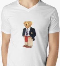 Preppy Smart Blazer Polo Bear  Men's V-Neck T-Shirt