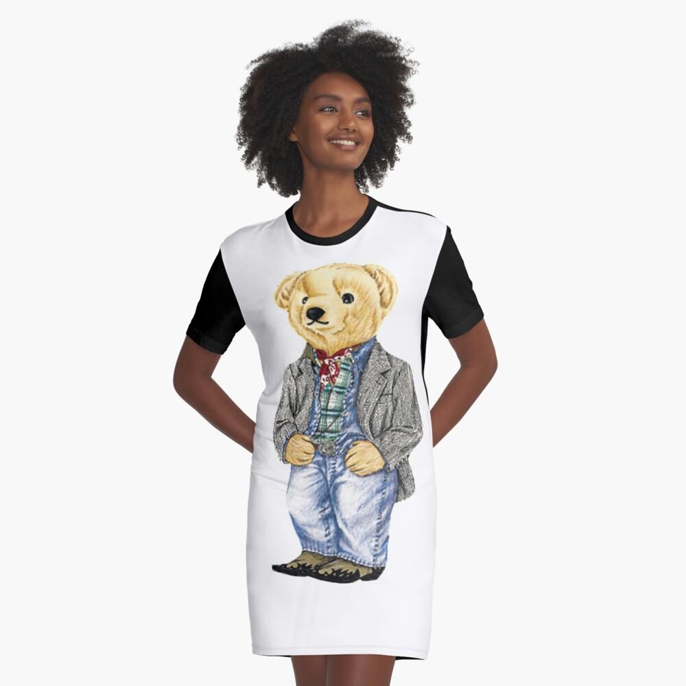 Cowboy Denim Polo Bear Graphic T-Shirt Dress