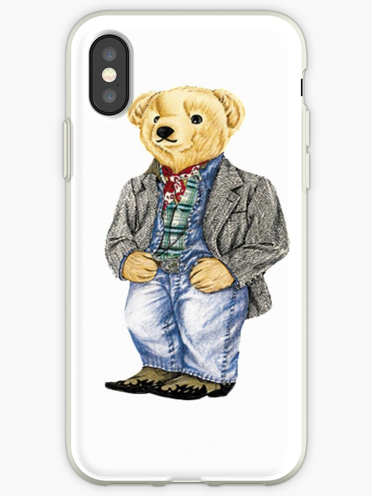 best service 36483 ccaf4 'Cowboy Denim Polo Bear' iPhone Case by easyrider3
