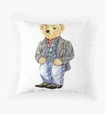 Cowboy Denim Polo Bear Throw Pillow