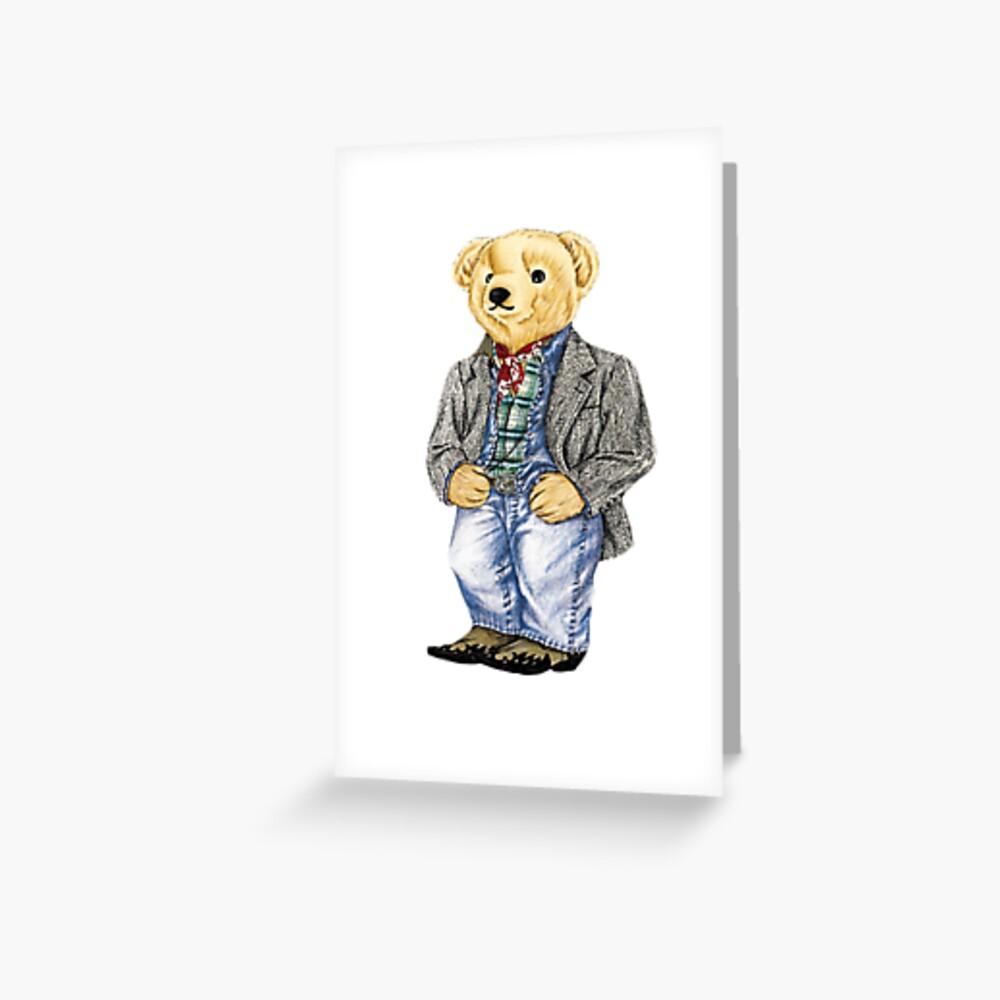 Cowboy Denim Polo Bear Greeting Card