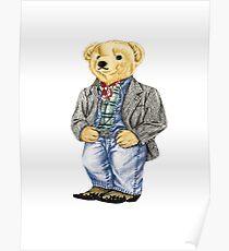 Cowboy Denim Polo Bear Poster