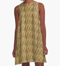 Retro Rainbow Tunisian Stitch A-Line Dress