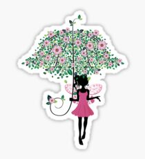 Fairy with Floral Umbrella Sticker