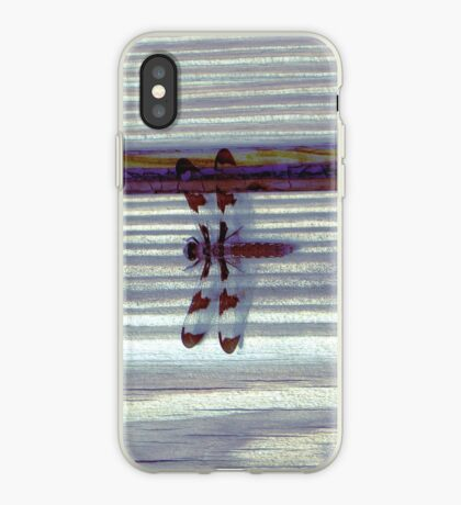 Dragonfly on Stripes II iPhone Case