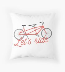 Let's Ride Bicycle Illustration - Red   Throw Pillow
