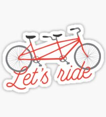 Let's Ride Bicycle Illustration - Red   Sticker