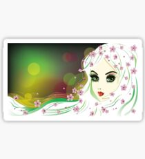 Floral Girl with White Hair Sticker