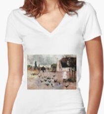 Tea-time by Charles Conder Women's Fitted V-Neck T-Shirt