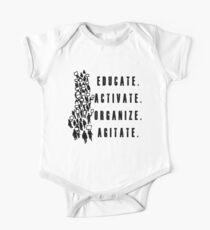 Educate. Activate. Organize. Agitate. - Activist Protesters Marching One Piece - Short Sleeve