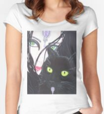 Fashion Accessories woman & cat Women's Fitted Scoop T-Shirt