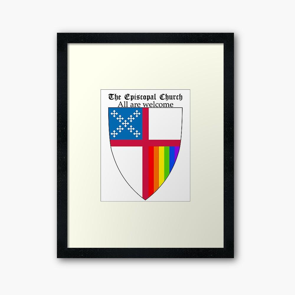 Episcopal Church Schild mit Regenbogen-Stolz 2 Gerahmter Kunstdruck