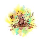 Kitty cat playing in a pile of leaves. Autumn by meomeo