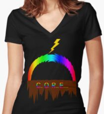 C O R E (Colours Of Rainbow Electrocuted) Women's Fitted V-Neck T-Shirt