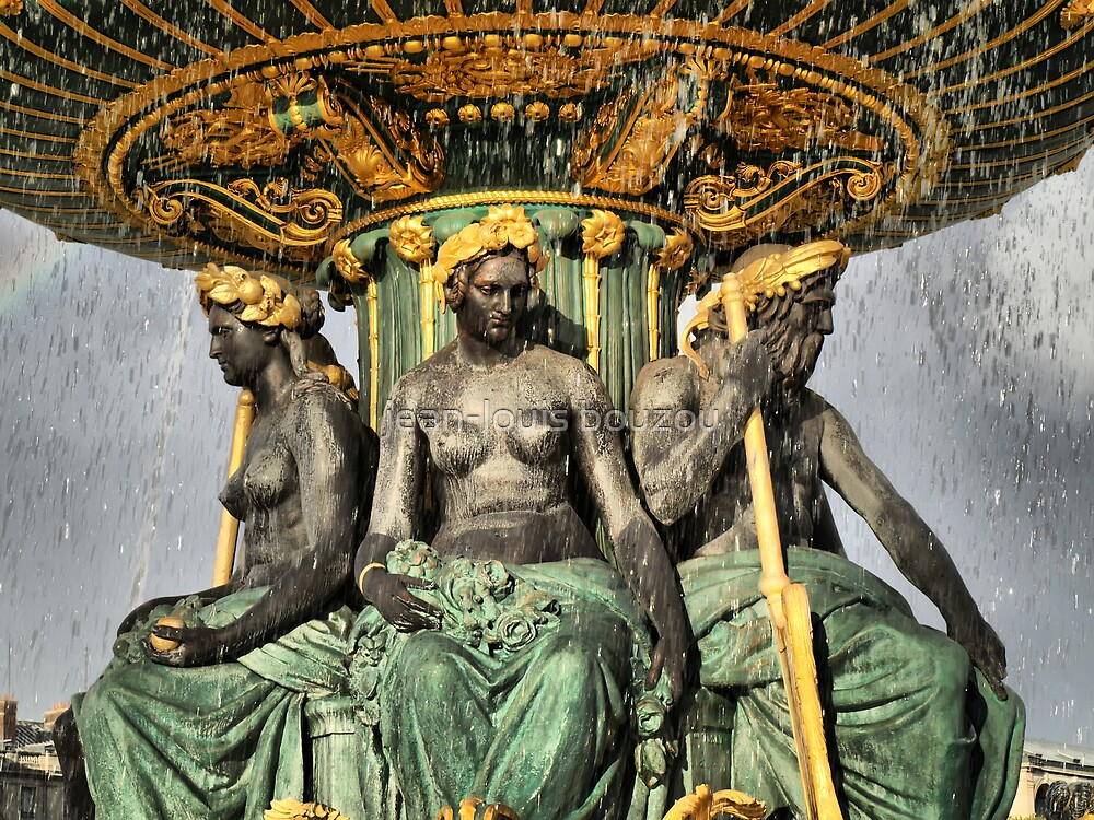 Paris - Fountain's satues of the Concorde's square under a downpour...  by jean-louis bouzou