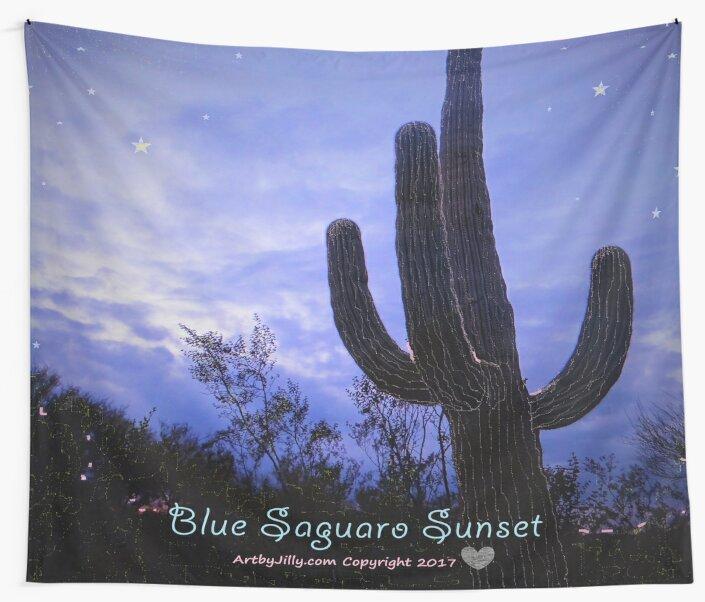 Blue Saguaro Sunset by Jilly Jesson